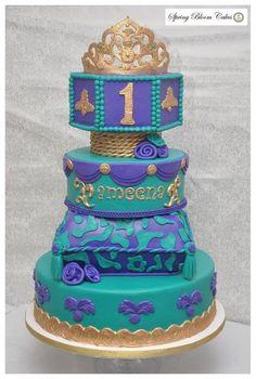 Purple and Turquoise Princess Jasmine Cake ~ all edible Princess Jasmine Cake, Princess Cakes, Princess Theme, Princess Disney, Cupcakes, Cupcake Cakes, Beautiful Cakes, Amazing Cakes, Aladdin Cake