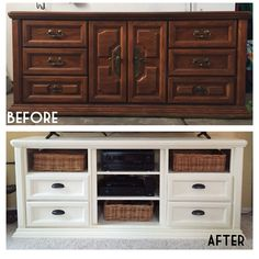 Refurbished dresser turned into TV console. Annie Sloan chalk paint.