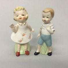 Mid Century Boy Waving Girl Salt Pepper Shakers | eBay