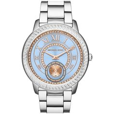 MICHAEL Michael Kors'Madelyn' Bracelet Watch,40mm (605 BAM) ❤ liked on Polyvore featuring jewelry, watches, roman numeral bracelet, roman numeral watches, crystal jewelry, michael michael kors and roman numeral jewelry