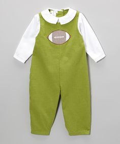Loving this Green Gingham Football Layered Playsuit - Infant on #zulily! #zulilyfinds