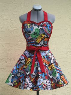 New  Sexy Heart Shaped Marvel Comic Apron  Pin by AquamarCouture, $39.95