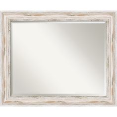 Add dimension to your hallway or update your bathroom with this horizontal framed mirror. The distressed finish of the frame creates simple shabby-chic appeal wherever you place it. At over two feet wide, it's perfect for placing above a sink or mantle.