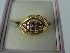 Gold Pre Loved 18ct Solid Yellow Gold 12White & 7Pink Diamond Ring 8.3grms | eBay