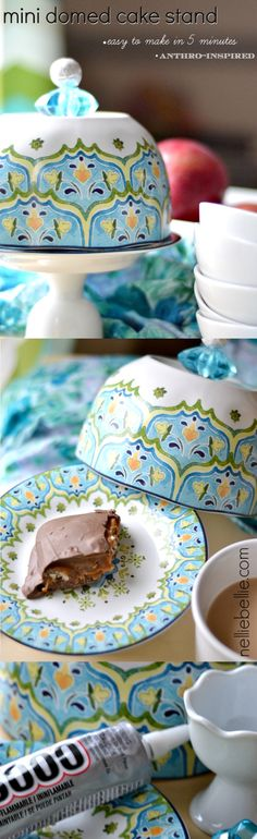 A mini cake stand that is so easy to make! This version is an adorable gift idea! ~nelliebellie.com