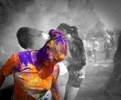 Holi Indian Festival black and white photography with color