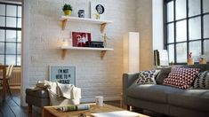 Three different homes that use white, wood, and stylish design elements to invoke the Scandinavian style. Wallpaper Lounge, Brick Wallpaper Living Room, Brick Effect Wallpaper, White Brick Wallpaper, Scandinavian Architecture, Scandinavian Style, Interior Architecture, Interior Design, Kitchen Design
