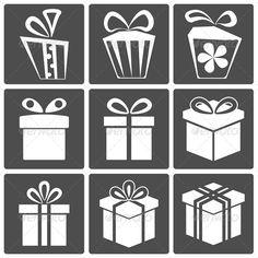 Gift icon set birthday, bow, box, celebration, christmas, collection, event…