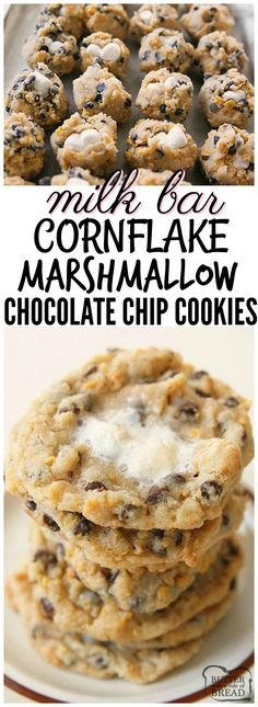Milk Bar Cornflake Marshmallow Cookies just like the ones served in Momofuku Milk Bar in NYC! I think my version is even BETTER...and they're easier to make! Could also try it with crushed up cinnamon toast crunch!!