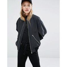 Weekday Bomber Jacket With Zips ($98) ❤ liked on Polyvore featuring outerwear, jackets, black, blouson jacket, bomber style jacket, lightweight jacket, pocket jacket and lightweight bomber jacket