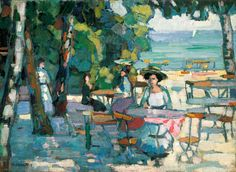 Hermann Stenner (Germany Kaffeegarten am Ammersee oil on canvas x 59 cm August Macke, Franz Marc, Wassily Kandinsky, Lawrence Lee, Modern Art, Contemporary Art, Cool Artwork, Landscape Paintings, Beach Paintings