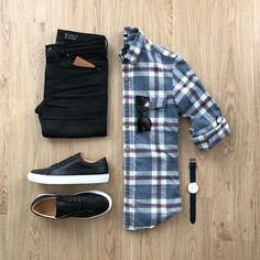 Men Casual Shirt Outfit 🖤 Very Attractive Casual Outfit Grid, Mode Masculine, Fashion Mode, Mens Fashion, Fashion Black, Flat Lay Fashion, Men Fashion Casual, Plaid Fashion, Fashion Vintage, Trendy Fashion