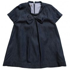Hucklebones London  Lightweight Dark Blue Denim Pleated Dress with Bow
