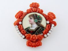 Vintage 18K Gold, Carved Coral, Diamond Enamel Portrait Miniature Brooch Pendant #Unbranded