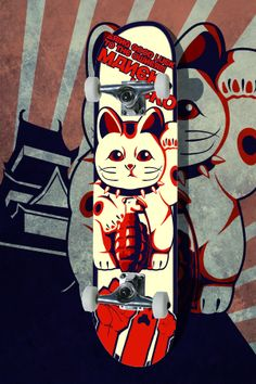 Lucky Cat,Sk8 deck by ElPino0921 on deviantART