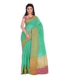 Buy Turquoise hand_woven cotton_silk saree with blouse tussar-silk-saree online