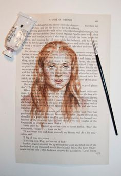 Sansa Stark Song of Ice and Fire fan art on A Game of Thrones book page. Game Of Thrones Drawings, Game Of Thrones Illustrations, Game Of Thrones Sansa, Game Of Thrones Books, Watercolor Books, Watercolor Paintings, Gane Of Thrones, Game Of Throne Daenerys, Drawing Games