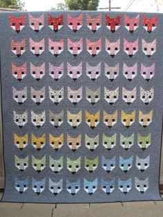 Fancy Fox quilt made with jelly roll and Essex denim
