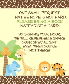 Jungle Safari Bring a Book Insert - Encourage guests to bring books to your gender neutral baby girl or boy baby shower with this cute giraffe, elephant, palm tree, lion, tiger and safari animal yellow, green, blue and giraffe print brown stationary. Cute book inserts for Baby Showers are a perfect way to personalize your growing baby library of books. Find more at www.theinvitelady.com