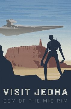 Star Wars: Jehda Travel Poster - Created by Lacey RobertsPrints available for sale at the artist's Etsy Shop.
