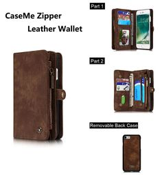 CaseMe 008 iPhone 7 Zipper Wallet Detachable 2 in 1 Retro Flannelette Leather Folio Case Brown