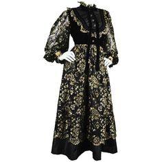 Preowned Emanuel Ungaro Boutique 1980s Black & Gold Lace, Velvet &... ($1,126) ❤ liked on Polyvore featuring dresses, black, lace sleeve cocktail dress, vintage 80s dress, 80s cocktail dress, gold cocktail dress and gold lace dress