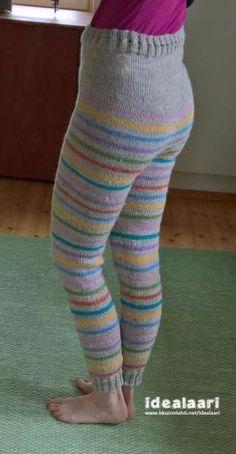 Naisen villahousut 7-veikasta Knitting Charts, Knitting Patterns, Short Tejidos, Diy Clothes Accessories, Bobe, Knit Pants, Leg Warmers, Diy Crochet, Pretty Outfits