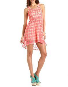 Neon Daisy Lace Hi-Low Dress: Charlotte Russe