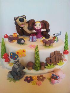 Cake Tort. Sugarcraft Masa cukrowa. Inspiration Inspiracja: Masha & Bear Masza i Niedźwiedź