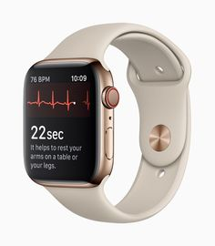 A gold Apple Watch Series 4 showing an ECG reading. A gold Apple Watch Series 4 showing an ECG reading. Gold Apple Watch, Apple Watch Faces, Smart Watch Apple, Apple Watch Models, Ecg App, Best Fitness Tracker, Johnson And Johnson, Heart Rate Monitor, Apple Watch Series