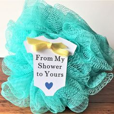 """From My Shower to Yours Baby Shower Favor Tags (2.5"""" Wide), White Baby Onesie Favor Tags, Soap/ Lufa/ Shower Gel Favor Tags"""
