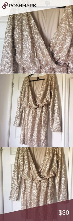 Champagne Nude Plus Size Sequined Dress 2X, 16 18 Gold Sequined Draped dress…