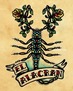 Old School Tattoo Art Scorpion EL ALACRAN Loteria Print 5 x 7 or 8 x 10