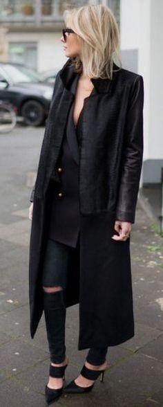 Black coat, black blazer, black blouse, black ripped, black cutout    Lisa RVD #black