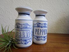 Kitchen Salt and Pepper Shakers Blue and White 4 3/4 inch tall | Etsy Colorado Tourist Attractions, Blue Stain, Wood Wall Shelf, Decorative Borders, Salt And Pepper, Country Decor, Craft Stores, French Vintage, Upcycle