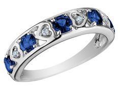 My promise ring <3 Sapphire Heart Ring with Diamonds 3/4 Carat (ctw) in 10K White Gold