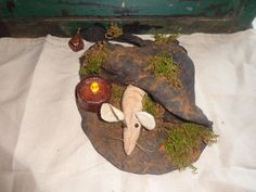 Primitive Grungy Witch Hat Sitter Mouse Ornie Handmade Halloween Candle  #NaivePrimitive #Handmade
