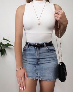 41 Lovely Denim Skirt Outfits Ideas To Makes You Look Stunning - Cute Outfits Cute Casual Outfits, Cute Summer Outfits, Stylish Outfits, Mode Outfits, Girl Outfits, Fashion Outfits, Womens Fashion, Mode Adidas, Urban Look