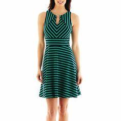 Sleeveless Keyhole Stripe Fit & Flare Dress green and black