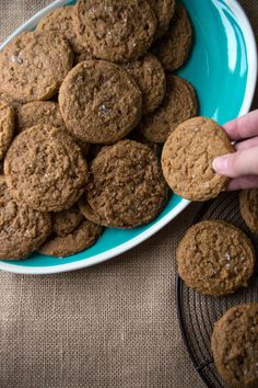 Chewy Salted Pumpkin Toffee Cookies. The BEST pumpkin cookie recipe! Not cakey!| siftandwhisk. com