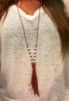 Cuero verdadero Perlas de imitación Cordón de piel utilizado para borla