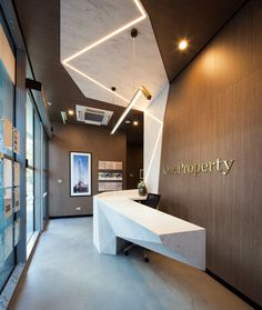 One Property Design by: Lachlan Cooper of Architects EAT Application: Reception counter  Corian® Colour(s): Raincloud  Joiner: Kingston Joinery