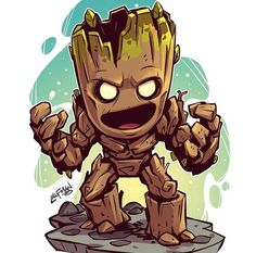 Drawing Marvel Comics Chibi Groot Print — Derek Laufman - **Price is in US Dollars** Signed x Print on high quality gloss stock. Cartoon Kunst, Comic Kunst, Cartoon Art, Comic Art, Chibi Marvel, Marvel Art, Marvel Heroes, Chibi Superhero, Captain Marvel