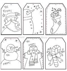 etiquetas de regalo navideñas para colorear. Manualidades de Navidad