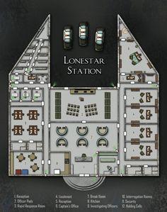 Lonestar Station; shadowrun, floorplan