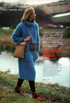 Finnfemme: Knit Up a Fluffy Mohair-Angora Sweater Super Dress!  Vintage 1976 Knitting Pattern