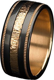 KD G 04 Hammered Rose Gold Ring. Knight Dreams Collection. Black Cobalt Chromium Man's Band with Rose Gold Inlay and Insleeve. Zoltan David Jewelry