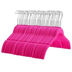 ZOBER 60 Pack, Premium Quality Space Saving Velvet Shirt Hangers Strong and Durable with 360 Degree Chrome Swivel Hook - Non Slip Dress Hangers with Contoured Shoulders and Notches for Straps, Pink Slim Hangers, Non Slip Hangers, Clothes Hangers, Black Velvet Hangers, Velvet Shirt Dress, Very Short Dress, Garment Racks, Velvet Material, Plus Size Maxi Dresses