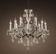19th C. Rococo Iron & Crystal Chandelier Medium