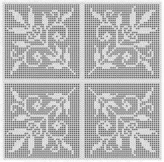 Free Filet Crochet Charts | Leaves and Tiny Flowers Charted Design